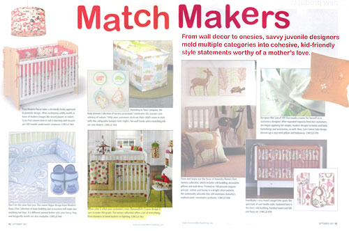Accessory Merchandiser features Bananafish Crayon bedding and accessories