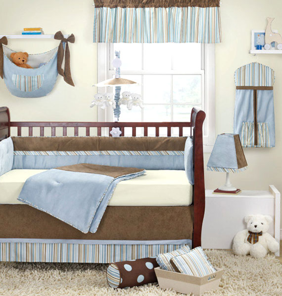 Banana fish baby boy 4pc crib bedding nursery new for Fish crib bedding