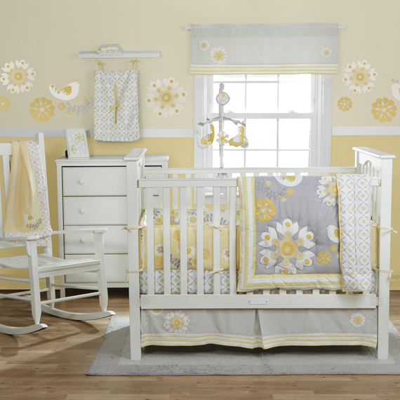 Nursery Update Yellow Grey White Vintage Circus
